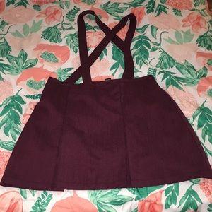 Women's Pleated Suspender Skirt Maroon